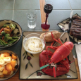 Steak sounded good for dinner. But so did lobster. and a potato. and a bowl of grilled broccoli, carrots, cauliflower and asparagus. and some cut up peaches, papaya and  banana. […]