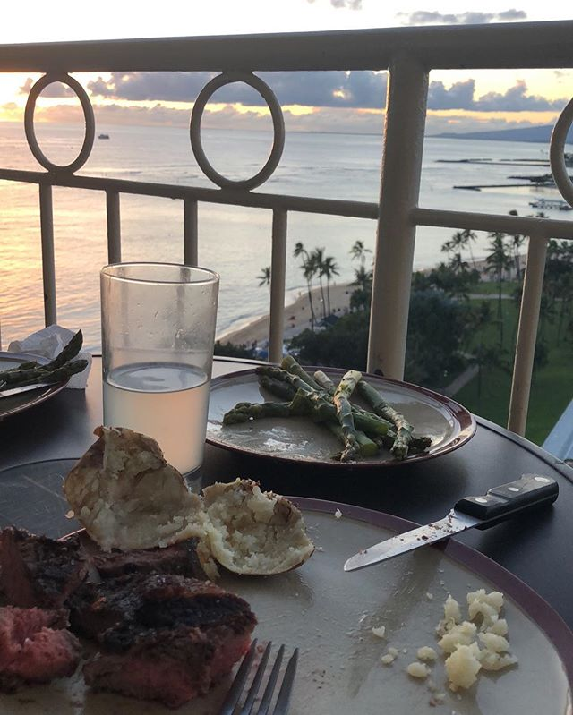 """I mean, I don't normally do the """"picture of your food"""" thing unless it's irony or satire but how else am I supposed to brag like a douche and let the world know I just had a steak at sunset on a beachfront penthouse in Honolulu, unless it's through the guise of artful food snapping?"""